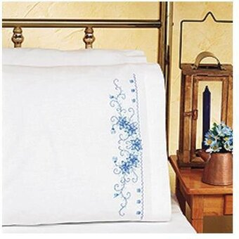 Blue Floral Pillowcase Pair - Embroidery Kit