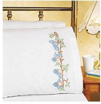 Birds On A Branch Pillowcase Pair - Stamped Cross Stitch Kit