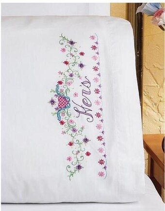 His/Hers Bridal Set Pillowcase - Stamped Cross Stitch Kit