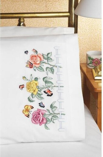 Rose Garden Pillowcase Pair - Embroidery Kit