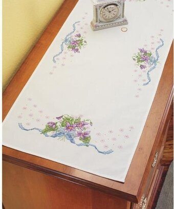 Violets Dresser Scarf - Stamped Cross Stitch Kit