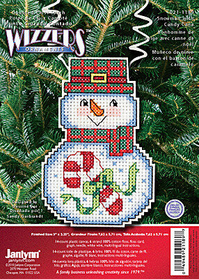 Holiday Wizzers Snowman with Candy Cane - Cross Stitch Kit