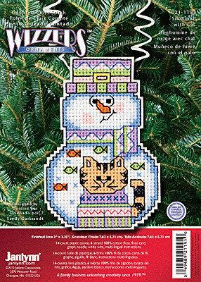 Janlynn Cross Stitch Kit Snowman with Cat