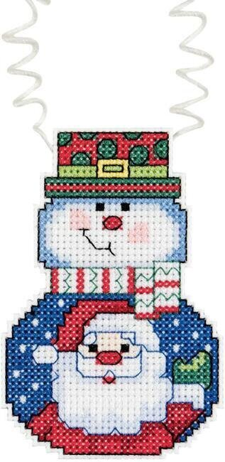 Holiday Wizzers Snowman With Santa - Cross Stitch Kit