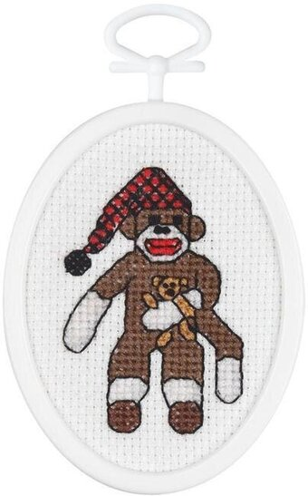 PeeJay Sock Monkey - Mini Cross Stitch Kit