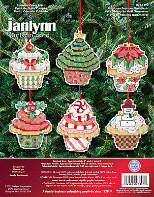Christmas Cupcakes Ornaments - Cross Stitch Kit