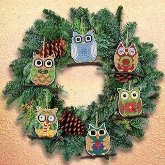 owl christmas ornaments cross stitch kit