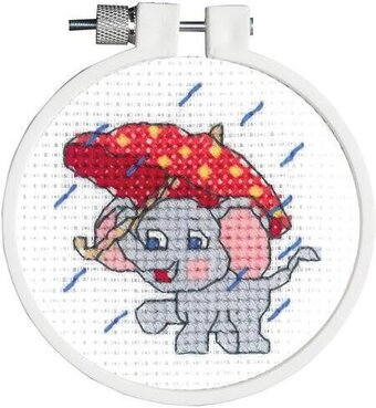 Rainy Day Elephant - Cross Stitch Kit
