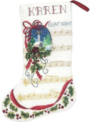 Silent Night Christmas Stocking - Cross Stitch Kit