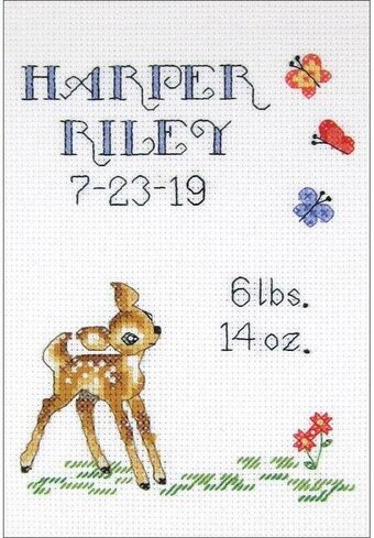 Baby Deer Sampler Birth Record - Cross Stitch Kit