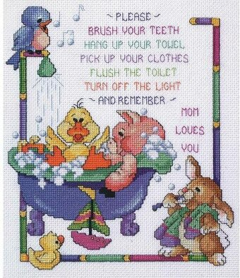 Bathtime Rules - Cross Stitch Kit