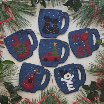 Merry Mugs Christmas Ornaments - Felt Applique Kit