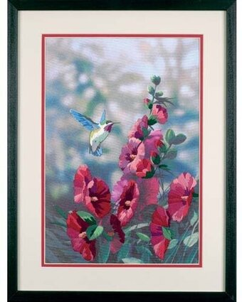 Hollyhocks in Bloom - Crewel Embroidery Kit