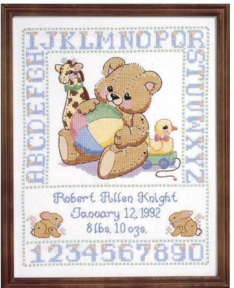 Bear Birth Sampler - Stamped Cross Stitch Kit