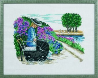 Girl with Pram - Cross Stitch Kit