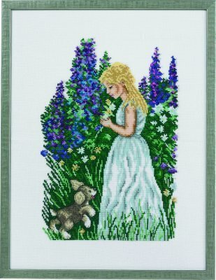 Girl with Puppy - Cross Stitch Kit