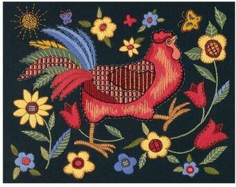 Rooster on Black - Crewel Embroidery Kit