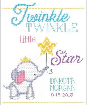 Twinkle Twinkle Little Star Birth Announcement Cross Stitch