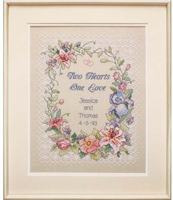 Two Hearts Wedding Record Stamped Cross Sch Kit