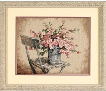 Dimensions Roses on White Chair Cross Stitch Kit 35187