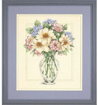 Flowers in Tall Vase - Cross Stitch Kit