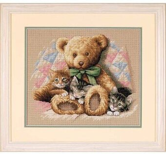 Teddy & Kittens - Cross Stitch Kit