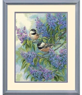 Chickadees and Lilacs - Cross Stitch Kit