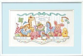 Toy Shelf Birth Record - Cross Stitch Kit