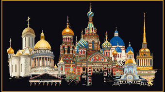 St. Petersburg on Black Aida - Cross Stitch Kit