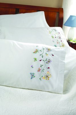 Butterflies In Flight Pillowcase Pair Stamped Embroidery Kit