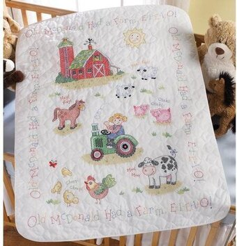 On the Farm Crib Cover - Stamped Cross Stitch Kit