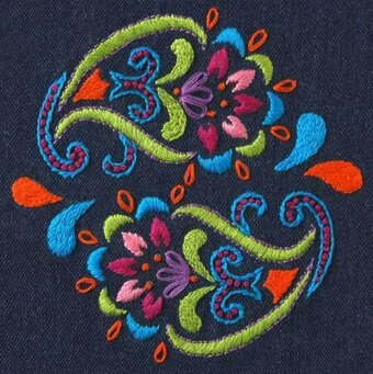 Charlotte Denim Bohemian Paisley - Embroidery Kit