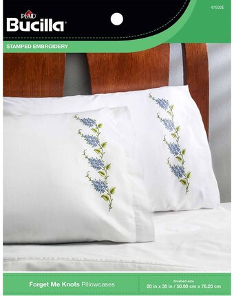 Forget Me Knots - Stamped Embroidery Pillowcase Pair