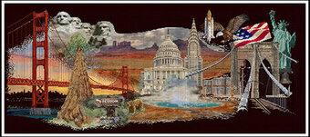 America (Black Aida) - Cross Stitch Kit