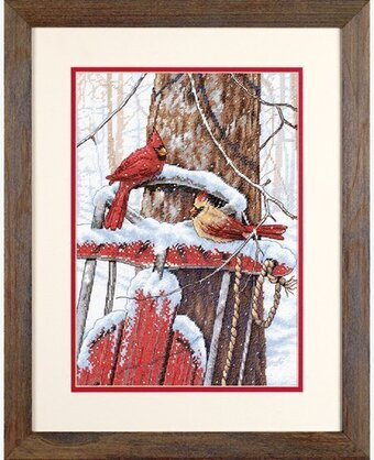 Cardinals On Sled - Cross Stitch Kit