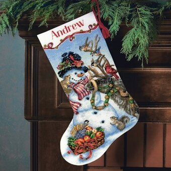 Dimensions Sledding Snowmen Christmas Stocking - Cross Stitch Kit ...