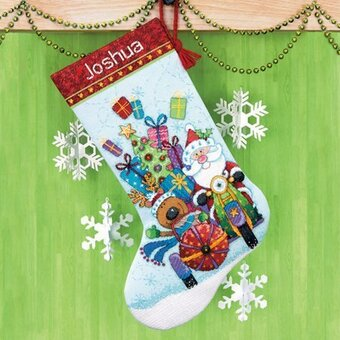 Santa's Sidecar Stocking - Cross Stitch Kit