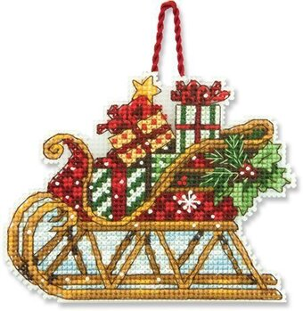 sleigh christmas ornament cross stitch kit