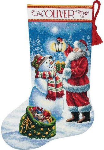 Holiday Glow Christmas Stocking - Cross Stitch Kit