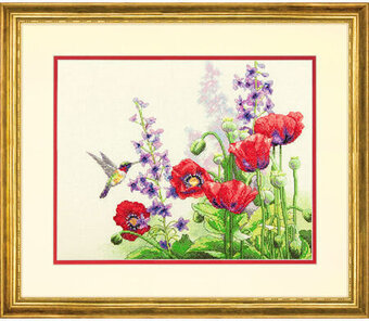 Hummingbird and Poppies - Cross Stitch Kit