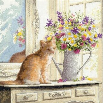 Kitten in the Window - Cross Stitch Kit