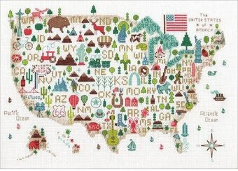 Illustrated USA Map - Cross Stitch Kit