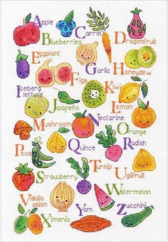 Fruits and Veggies - Cross Stitch Kit