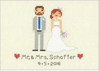 Bride and Groom Wedding Record - Cross Stitch Kit