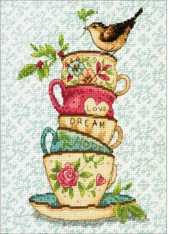 Stacked Tea Cups - Cross Stitch Kit