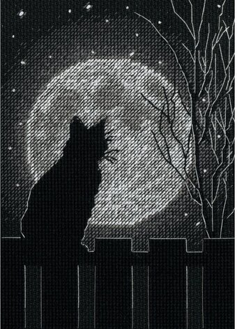 Black Moon Cat - Counted Cross Stitch Kit