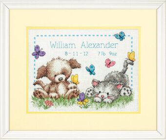 Pet Friends Baby Birth Record - Cross Stitch Kit