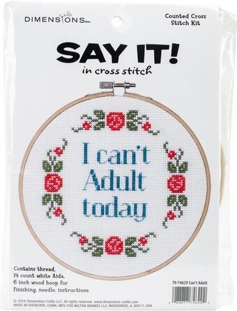 Can't Adult - Humorous Cross Stitch Kit