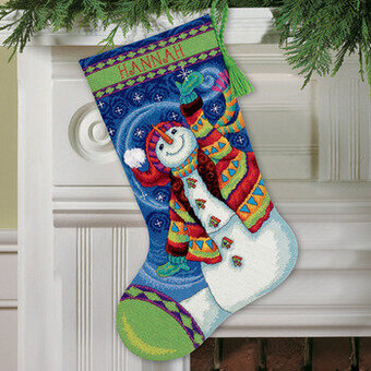 Dimensions Happy Snowman Christmas Stocking - Needlepoint Kit 71 ...