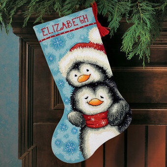 hugging penguins christmas stocking needlepoint kit